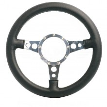Moto Lita Mark 4 Leather Rim Steering Wheel With Holed Spokes - 13 Inch Flat