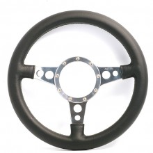 Moto Lita Mark 4 Leather Rim Steering Wheel. Polished Spokes With Holes. - 14 Inch Flat