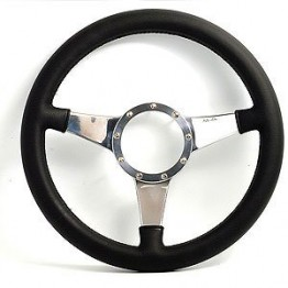 Mark 4 (Solid Spokes) Flat 12 in Leather Rim Steering Wheel