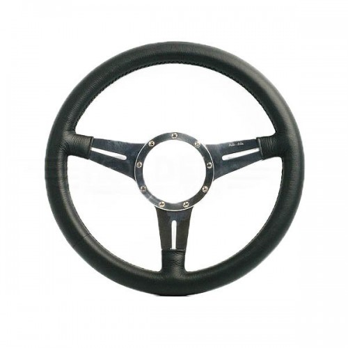 Moto Lita Mark 4 Leather Rim Steering Wheel With Slotted Spokes - 15 Inch Flat image #1