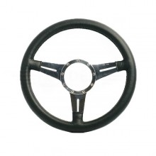 Moto Lita Mark 4 Leather Rim Steering Wheel With Slotted Spokes - 15 Inch Flat