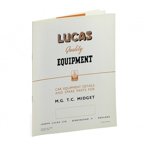 MG TC Lucas Spares Parts List image #1