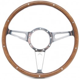 Mark 3 (Teardrop Slots) 14in Wood Rim Steering Wheel - Flat