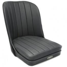 Vintage Style Sports Bucket Seat - Black Leather
