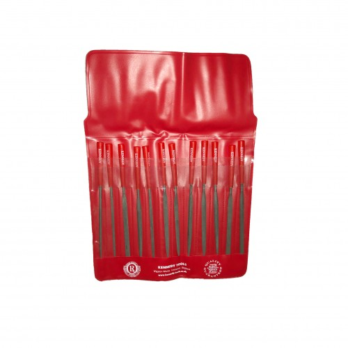 Set of 12 Hand Files in a Red Wallet