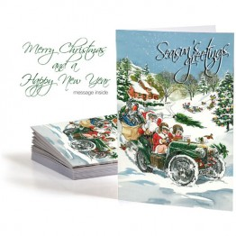 Christmas Card  Santa in Car (Set of 10)