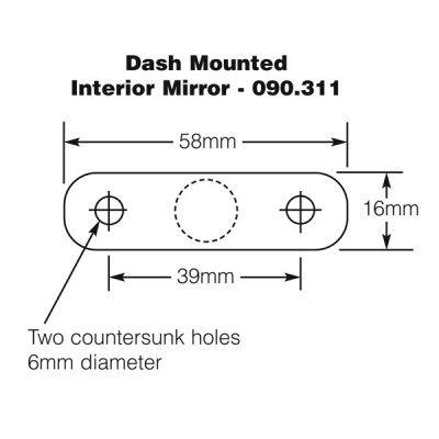Dash Mounted Interior Mirror - Black & Chrome