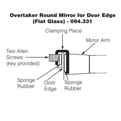 Overtaker Mirror - Door Edge - Round 100mm - Flat Glass