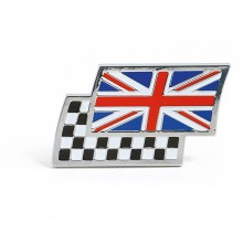Union Jack & Chequered Flag Adhesive Badge - Width 43mm