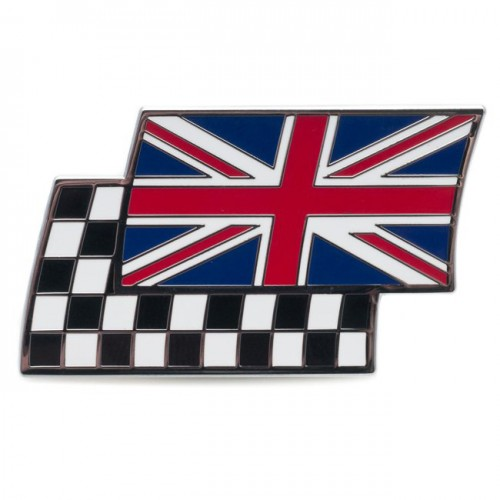 Union Jack & Chequered Flag Adhesive Badge - Width 50mm image #1