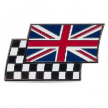 Union Jack & Chequered Flag Adhesive Badge - Width 50mm