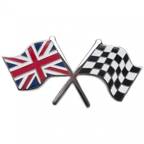 Union Jack & Chequered Crossed Flags Adhesive Badge image #1