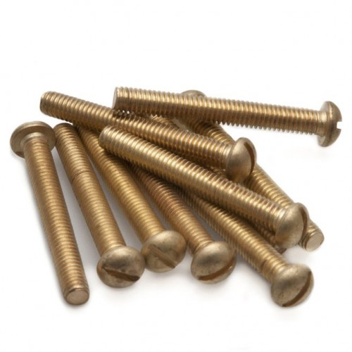 2BA Round Head Slotted Screw Brass - 1 1/2 in image #1