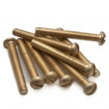 2BA Round Head Slotted Screw Brass - 1 1/2 in