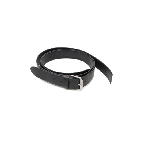 Leather Bonnet Straps - Black/Chrome 1 1/4 in wide image #1