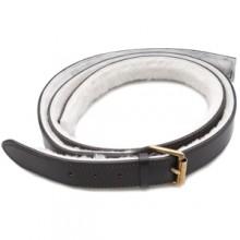 Lined Leather Bonnet Straps - Black/Brass 2 in wide