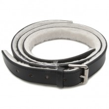 Lined Leather Bonnet Straps - Black/Chrome 1 1/2 in wide