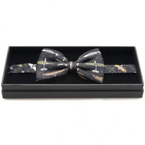 Silk Bow Tie - WW2 Aircraft on Black image #1