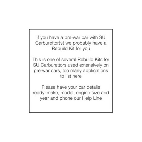 Rebuild Kit for one H4 Th Carburettor image #1