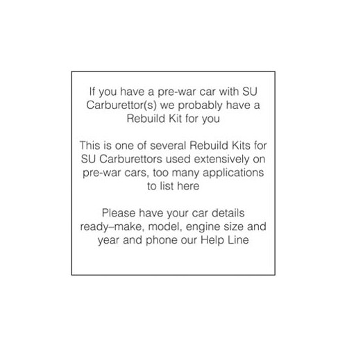 Rebuild Kit for one H6 Carburettor image #1