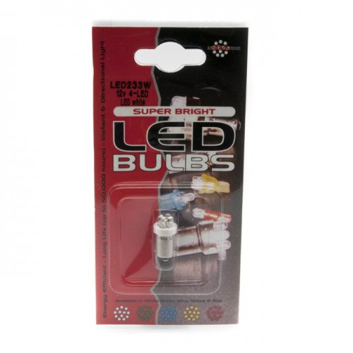 12v 4w Single Contact LED Bulb BA9s Cap - Pair image #1
