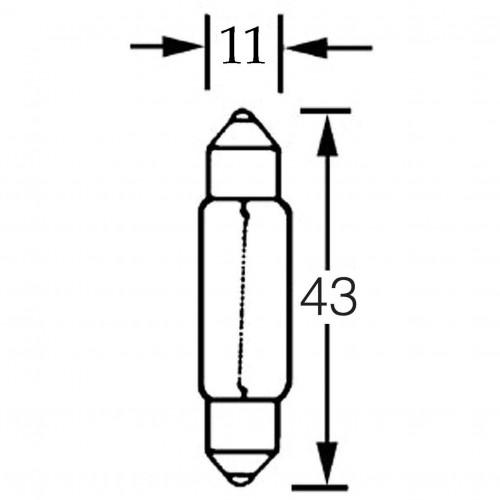 Bulb 12v 5w Festoon  11mm x 43mm LLB239 image #1