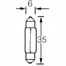Bulb Festoon 12v 3w  6mm x 35mm LLB256A