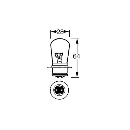 12v Bulb for BPF Headlamps - Dips to the Left - 50/40w LLB414 image #1