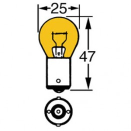 Amber 12v 21w Single Contact Bulb BA15s Cap LLB343