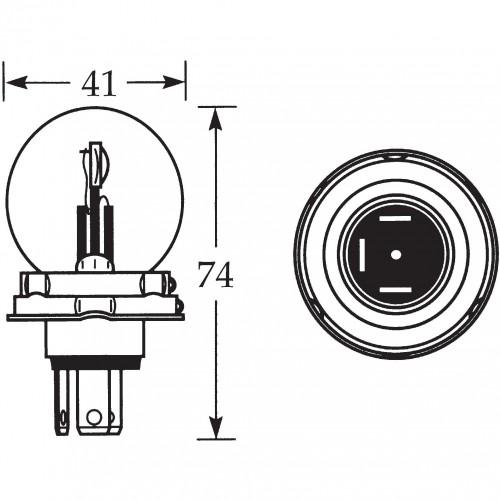 12v Bulb for UEC Headlamps Vertical Dip 45/40w LLB410 image #1
