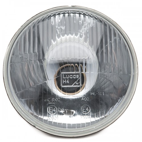 """Lucas type 7"""" H4 Light Unit RHD - With Sidelight - Domed Glass image #1"""
