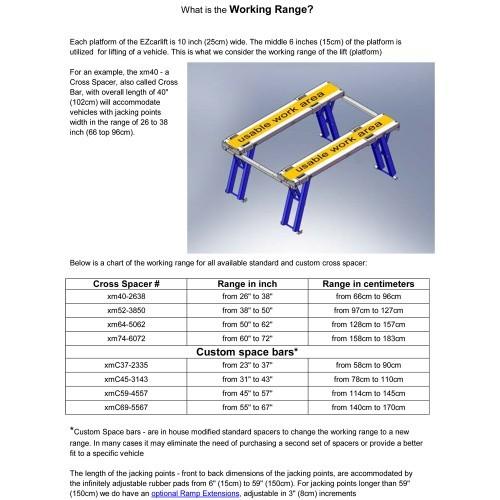 Cross Spacer Set - Working Range 79 to 110cm Wide