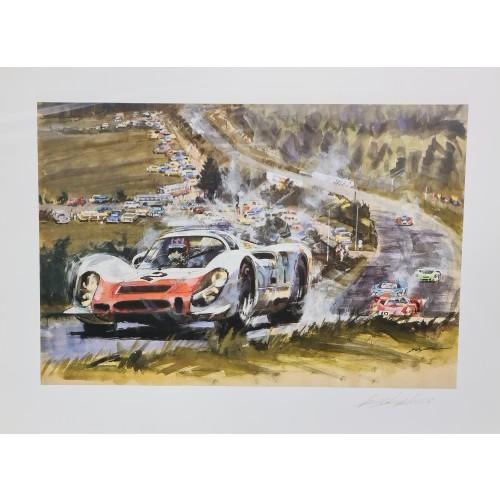 Gotschke 1968 1000KM Nurburgring Porsche 908 Signed Print