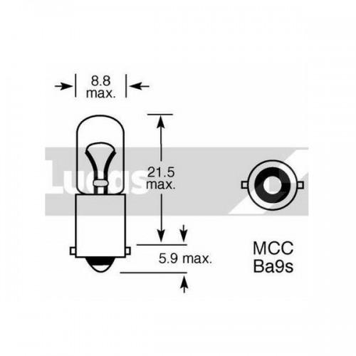Lucas Long Life Bulbs 12v 4w BA9s