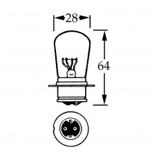 24v Bulb for BPF Headlamps - Dips to the Right - 44/38w LLB332