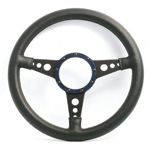 Mota Lita Mark 4 Leather Rim Steering Wheel With Black Spokes - 13 Inch Dished