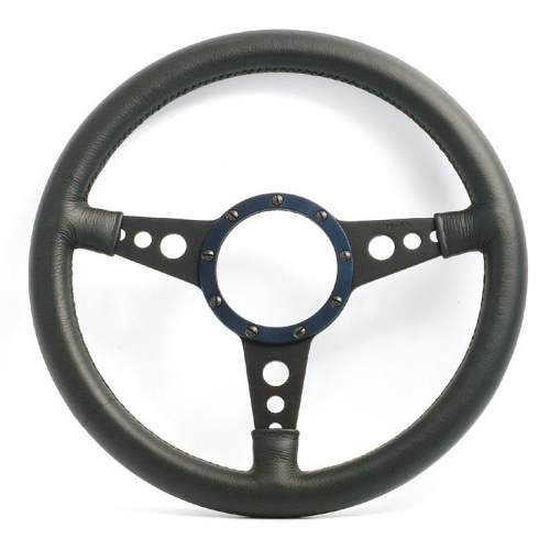 Mota Lita Mark 4 Leather Rim Steering Wheel With Holed Black Spokes - 15 Inch Dished