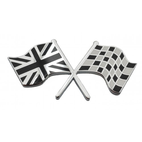 Union Jack & Chequered Crossed Flags Adhesive Badge